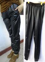 SIZE L Harem Black loose harem faux leather sweatpants joggers Plus size pants high women pants