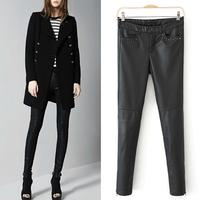 Womens' Fashion PU Leather Skinny Boutique Rivets Pencil Pants Slim Elastic Leggings Casual Elegant Quality Brand Design
