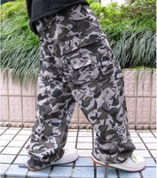 Plus size clothing plus size men's 100% Camouflage cotton multi-pocket pants overalls hiphop the trend of casual trousers