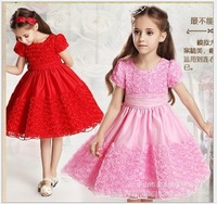 Retail new fashion princess dress girls dress roses dress  2 - 7 years old free shipping