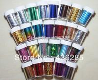 24pcs/pack mix styles Decal Decor Wrap Transfer Paper Glitter Nail Tips Foil Sticker DIY nail art decoration   NA040