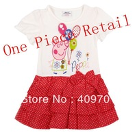 FREE SHIPPING H4178# Nova Kids 18m-6y baby girls hot Peppa Pig cotton short sleeve dress for spring autumn