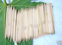 "New Double Point Knitting Needles Bamboo 8""(20 cm) Bleached 5x15 Sizes Sets 75Pcs Needles"