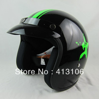 Free shipping/Motorcycle helmet/ Fiberglass material retro helmet/ jet helmet/Top level open face helmet/black green star