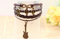 Top Fashion Happy Music Note Infinity Guitar Pendant Charm Leather Bracelet For Unisex HeHuanSLQ234