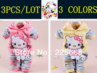 wholesale baby 2piece suit set tracksuits Girl's Hello Kitty clothing sets velvet Sport suits hoody jackets +pants freeshipping