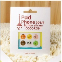 HOME Button Stickers for IPHONE/IPAD/ITOUCH Random Style 50pcs/lot Wholesale free shipping