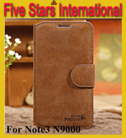 Newest Top Luxury Golden Phoenix Genuine Original Leather Case for Samsung Galaxy Note 3 N9000 Cover Wallet Case