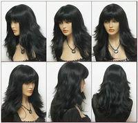 stylish long black wavy women's wig