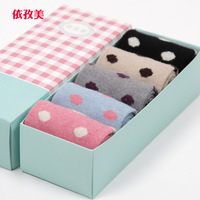 Free shipping  Winter socks women's wool  thickening thermal socks rabbit wool  boxed gift socks  warm cute  hot  5pairs/lot