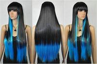 Halloween-Hair Heat Resistant Black Blue Mixed Long Straight Cosplay Wig
