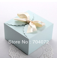 free shipping 20pcs mini cake boxes in light sky for  macaron boxes