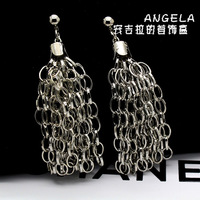 Fashion fashion earrings autumn punk street big stud earring long tassel design