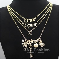 Gold Once Upon A Time Words Style Owl Key Heart Fairy Multi Layer Chain Necklace Jewelry Free Shipping
