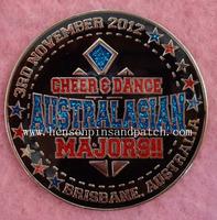 Dance gift, school sports pin, Australia sian Majors badge, black glitter, blue and red glitters, free shipping