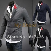 New Arrival Fashion Men's Stand Collar Knit Cardigan Casual Slim Fit Suit Coat Jacket Blazer 3Colors 4Sizes 18430
