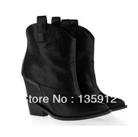 2013 White Star Motif wedge Cowboy Boot women's genuine leather shoe 34-42 high heels brand pointed ankle boot