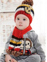 NEW color stripe children Scarf + hat children's hat Baby Kids Warmer Children Kids Girls Boys Cap
