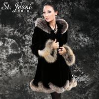 Free shipping St . jessi velvet mink jindao large fur collar fur overcoat outerwear