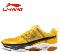 Free Shipping 1 Pair  Original  LiNing AYZH007 Yellow  Badminton Shoes Light Ventilate Antiskid Sneaker