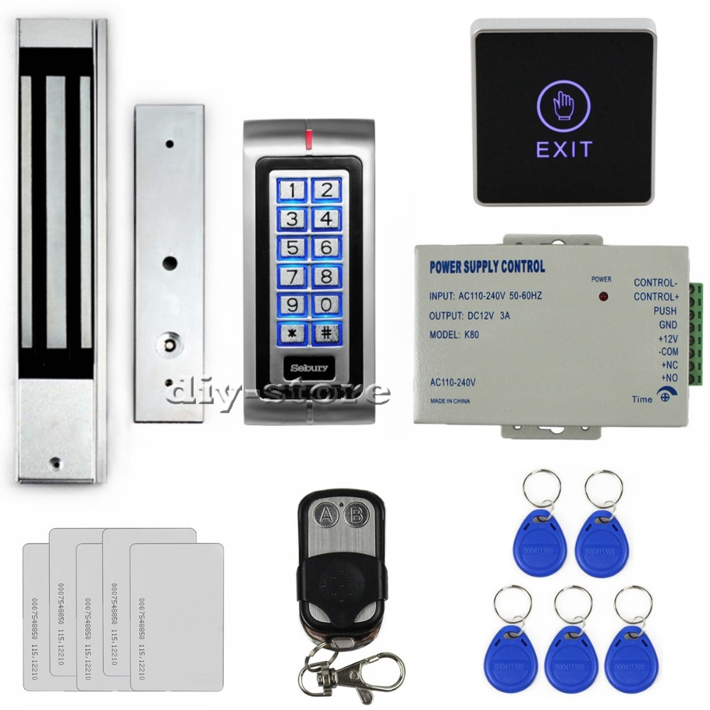 DIY Touch Button 125KHz RFID Metal Keypad Access Control System Kit + 280kg Magnetic Door Lock + Remote Controller K2(China (Mainland))