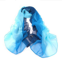 Dip dyeing chiffon silk scarf ultralarge ultra long autumn and winter female color block decoration scarf female cape