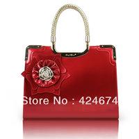 Bag fashion flower mirror 2013 japanned leather bag red bridesmaid bridal handbag