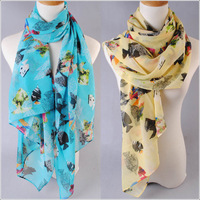 Free shipping! 2013 New design hot Women's fashion fish printed velvet chiffon scarf/shawl! SF257