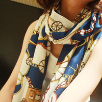 Summer women's scarf vintage carriage chain pattern print air conditioning cape scarf beach silk scarf all-match