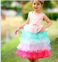 Drop Shipping(5pcs/lot) Elegant Party wear dress for Girls Fashion children's Wedding dresses girls Summer dresses *2 colors
