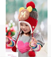 HOT Big M super cute new winter plus velvet ear children's hat Baby Boys Girls Kid Infant Warm Pink Cap Hat