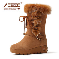 Acesc fashion rabbit fur snow boots high boots cowhide casual shoes female shoes 2013