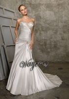HL-WD3311 Cheap Wholesale Beautiful Sweetheart Embroidery Beaded Sheath Silver Satin Wedding Dresses 2014 Custom Made