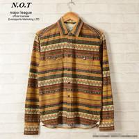 2014 New arrival men's fashion casual long-sleeve high quality  shirts aztec geometric pattern shirt for men free shipping