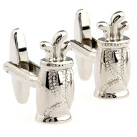 Novelty Silver Golf Bag Cufflinks AT0560 - guaranteed high quality