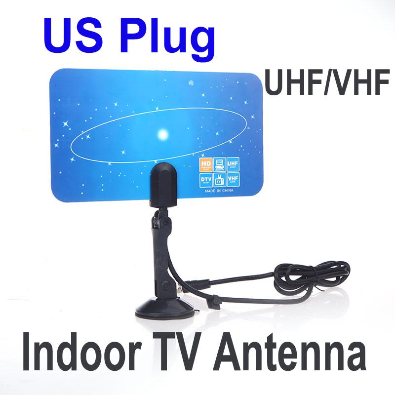 Digital Indoor TV Antenna HDTV DTV HD VHF UHF Flat Design High Gain US Plug New Arrival TV Antenna Receiver(China (Mainland))