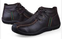 2014 new men boots men snow boots for men winter boots warm boots men hiking shoes, genuine leather+fur inside