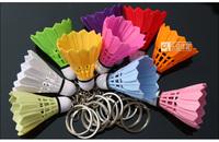 Free Shipping 20 PCS Mix Color Small mini Badminton Keychain Keyring