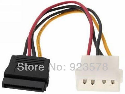 WHOLESALE 100pcs/lot High Quality 10cm 4P Molex / IDE to 15P Serial ATA SATA Power Adapter Cable IDE to SATA Hard Drive(China (Mainland))
