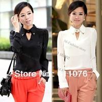 Women Regular Girl OL Lapel Chiffon Shirt Blouse Long Sleeve White&Black 18714