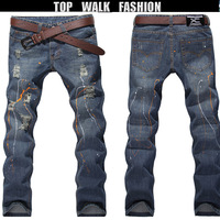New arrival men's jeans destroyed printing line new design jeans skinny jeans men's slim fashion hot denim jeans