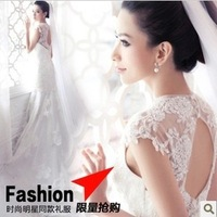 Princess Bride Deep V-Neck Luxury Lace Fish Tail Train Wedding Dress Bride Formal Dress Plus Size MY-005
