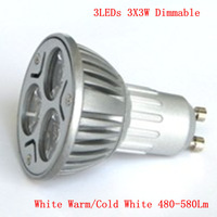 3LEDs 3X3W Dimmable 9w GU10 LED spotlight Lamp White Warm/Cold White 480-580Lm Spotlight Bulbs use in room/ office