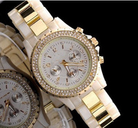 Fashion Brand White Clear Diamond Quartz Wrist Watch Hours for Women Ladies Girl /w Original Brand LOGO Free Shipping