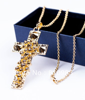 Fashion New Coming Gold Big Cross Spike Crystal Long Pendent Necklace Have matched Earring