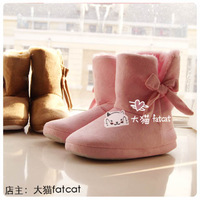 Thermal bow cotton boots full package with floor faux suede fabric velvet slippers home shoes