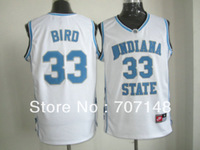 Cheap-Mix Order Indiana State Sycamores #33 Bird Blue White College Basketball Jersey