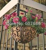 Rustic Iron Garden Hanging Flower Basket Flower Pot Holder Heavy Metal Outdoor Plant Holder Hanger Outside Garden Free Shipping