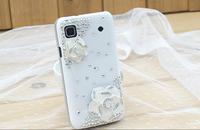 Crystal Diamond Camellia japonica Flower Case For Samsung Galaxy S i9000 / I9001 GALAXY S Plus / Galaxy SL i9003