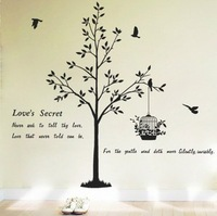 (Various Colors) Tree & Bird House Decor Mural Art Wall Sticker Decal WY1071